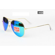 Ray Ban 3026 mirror blue gold