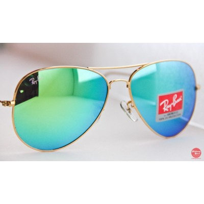Купить Ray Ban 3025 mirror green gold- в интернет магазине Муравей